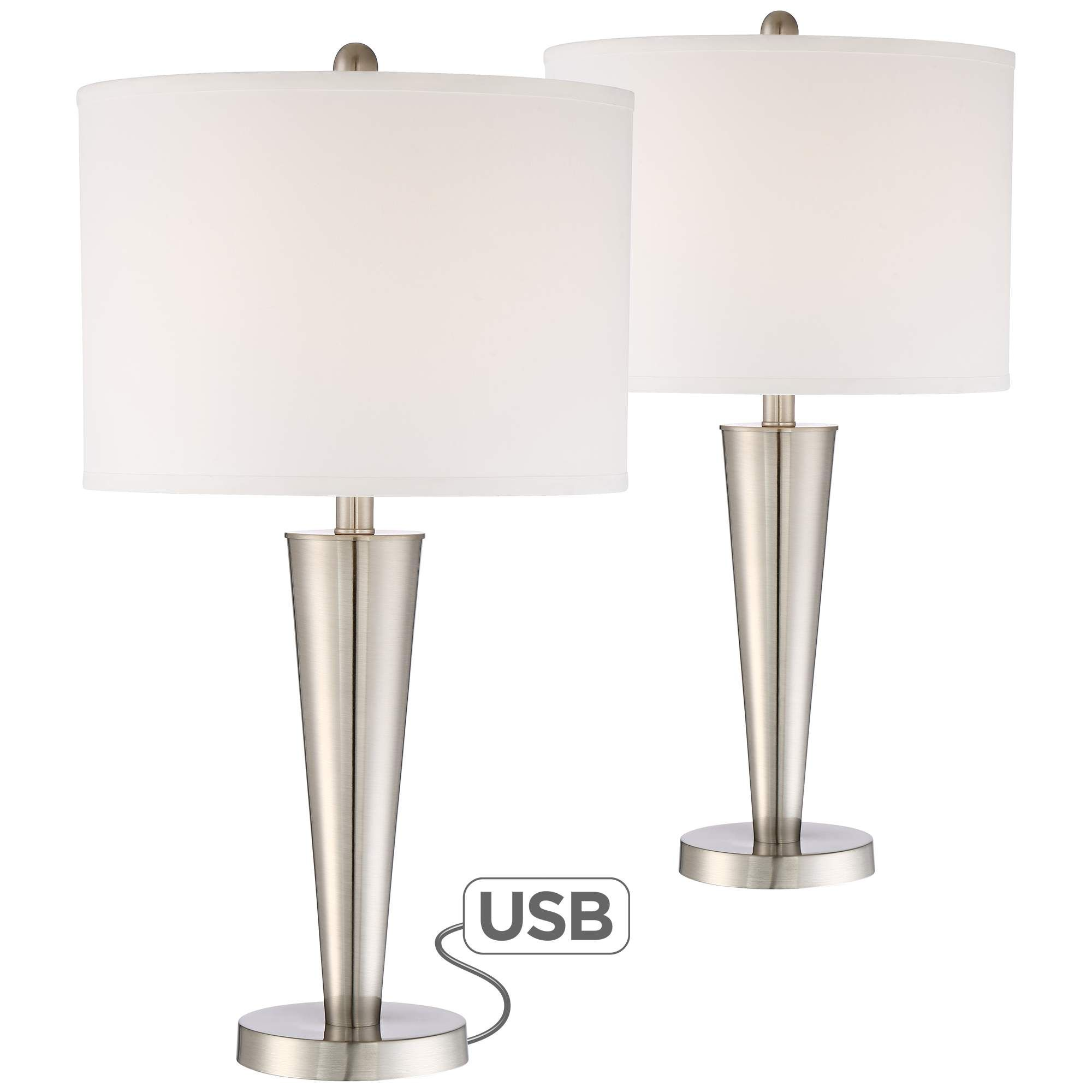 Table Lamps Geoff Brushed Nickel Usb Table Lamp Set Of 2 In 2020 Table Lamp Sets Table Lamp Lamp Sets