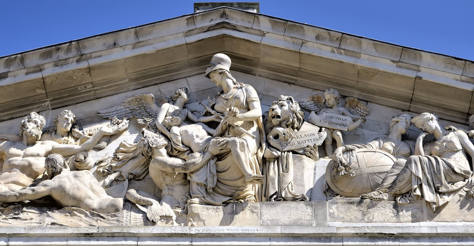 Seventy-two battles - Nelson Pediment, Coade stone, Benjamin West, 1812 - Old Royal Naval College, Greenwich, London | Flickr - Photo Sharing!