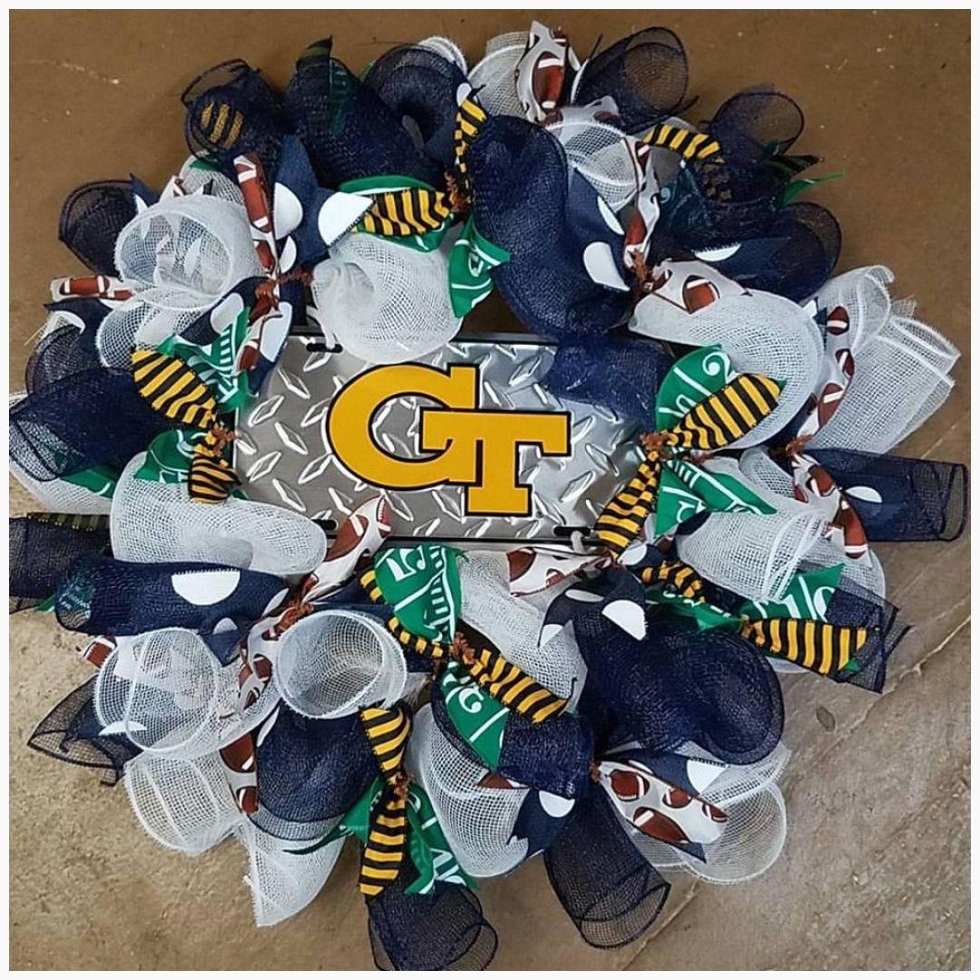 Georgia Tech Wreath #FootballWreath #BlueAndGoldWreath #GeorgiaTechWreath #georgia #BlueWreath #wreath #GeorgiaWreath #GeorgiaTech #football #sec