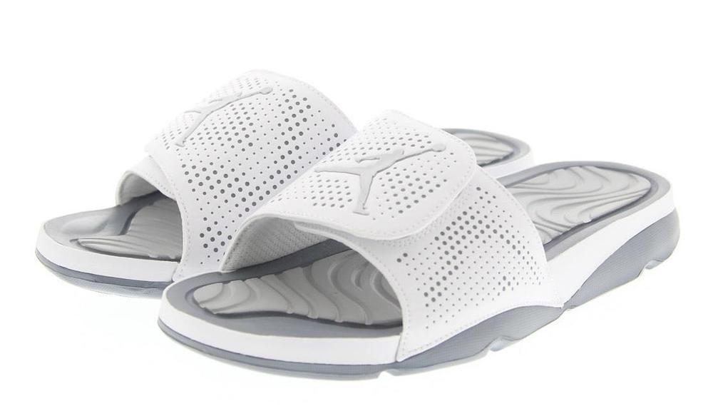 2c4c5b31497a0c Nike Mens Basketball Air Jordan Hydro 5 Slides Sandals White Gray 820257  120 NIB  Nike  BasketballShoes