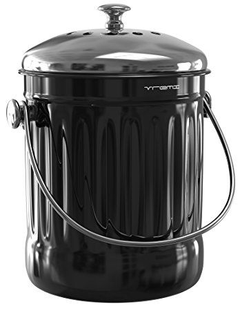 Merveilleux Vremi 1.2 Gallon Kitchen Compost Bin With Reusable Charcoal Filter    Stainless Steel Countertop Indoor Food Composter With Odor Trapping Vented  Lid   Under ...