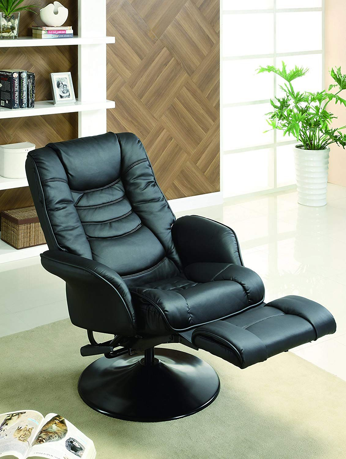 Leatherette Swivel Recliner Black Swivel recliner chairs
