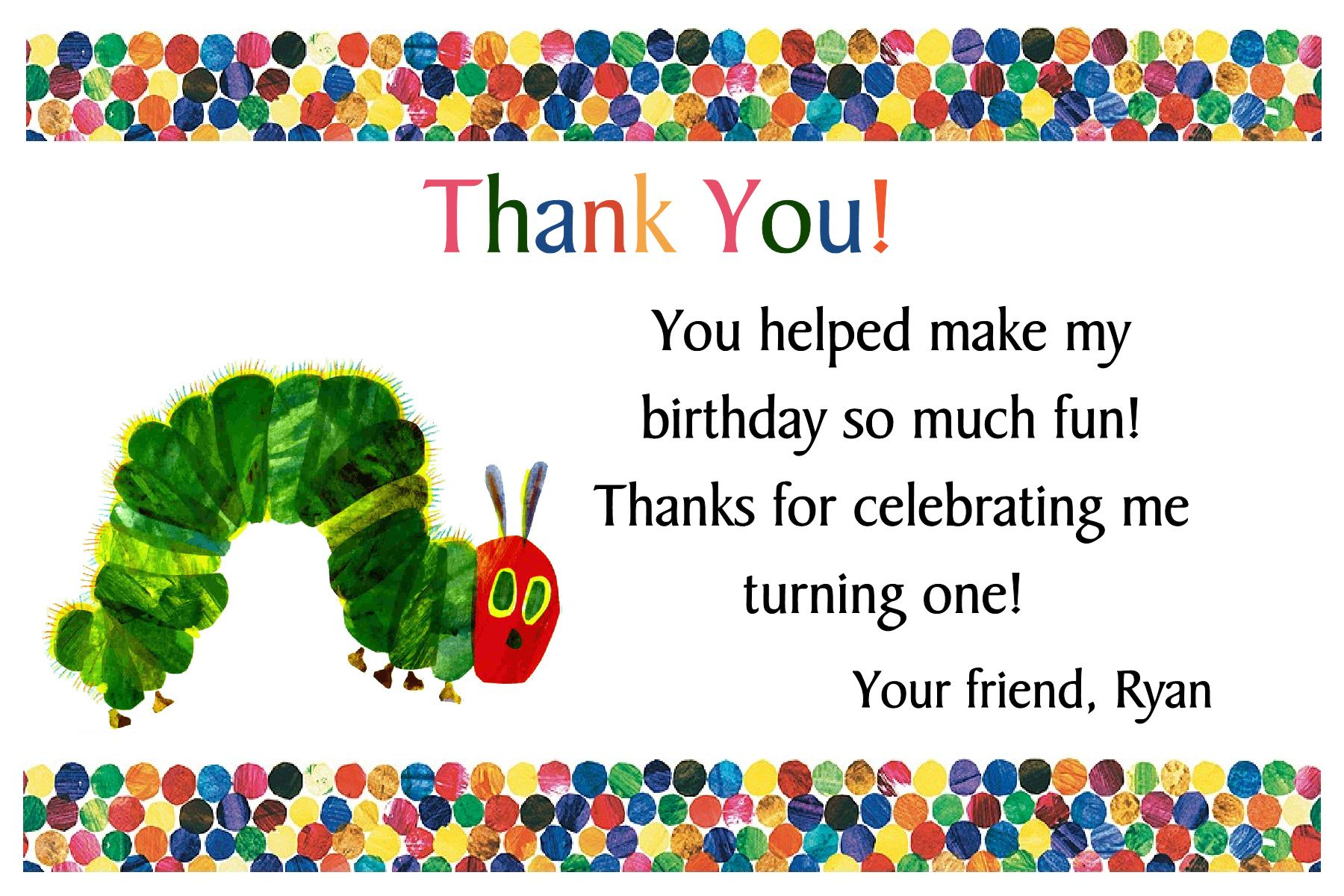 Very Hungry Caterpillar Thank You card on the image twice to