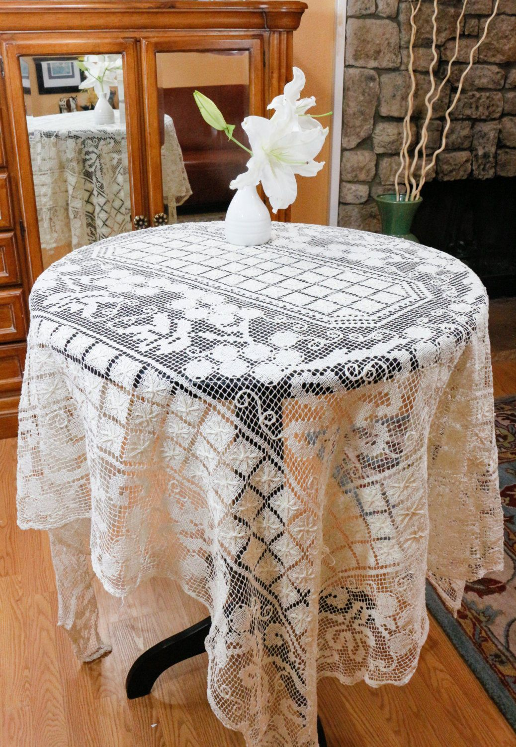 Lace Tablecloth Vintage Table Linens Italian Hand Knotted Lace