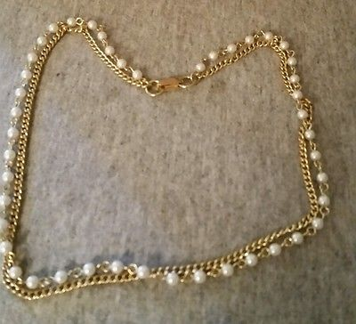 VTG 2 STRAND CHOKER NECKLACE  GOLD TONE CHAIN FAUX PEARLS JAPAN