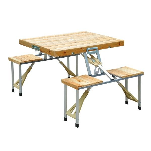 Outsunny 4 Person Wooden Portable Folding Picnic Table Set