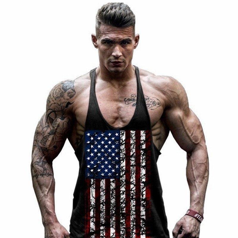 349daa63ce6c6 Men s Summer Workout Tank Top With USA Flag Print