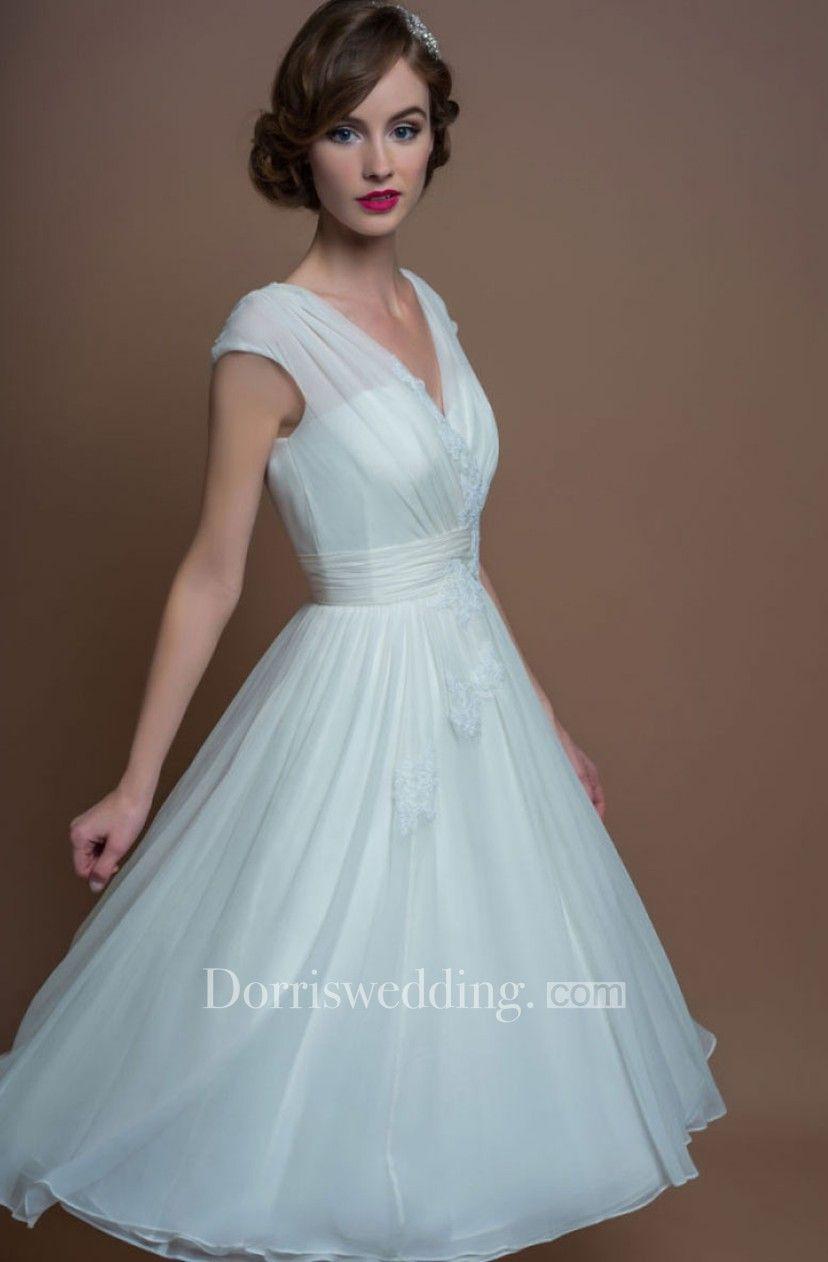 A-Line V-Neck Tea-Length Cap-Sleeve Appliqued Tulle Wedding Dress ...