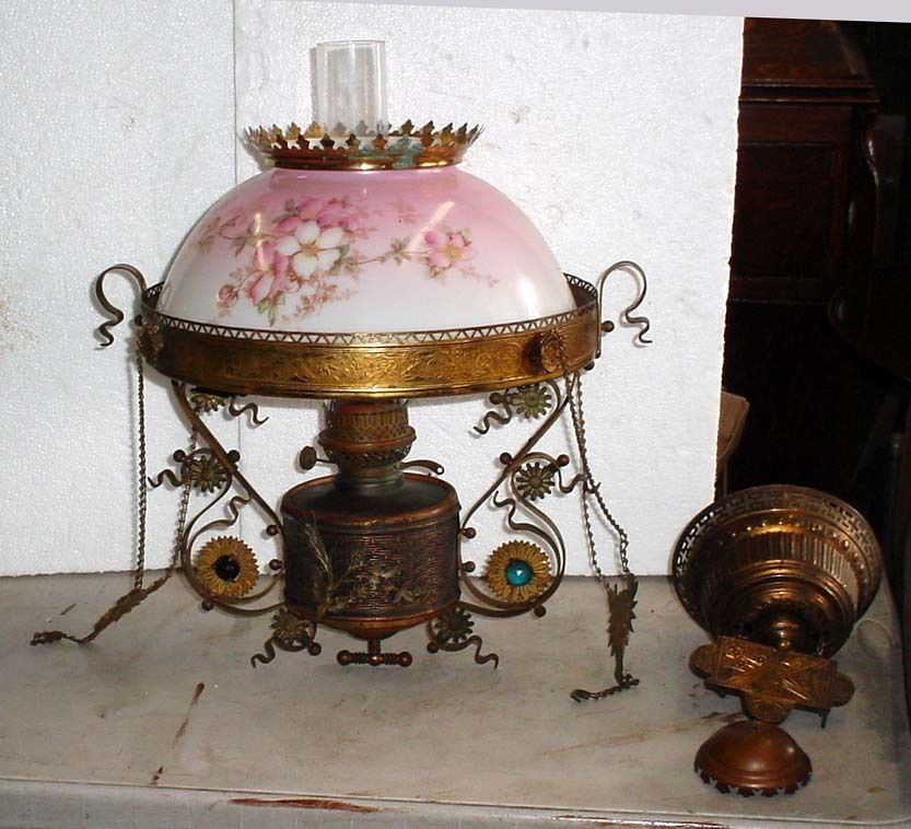 RARE Antique B Amp H Brass Jeweled Hanging Parlor Oil Lamp