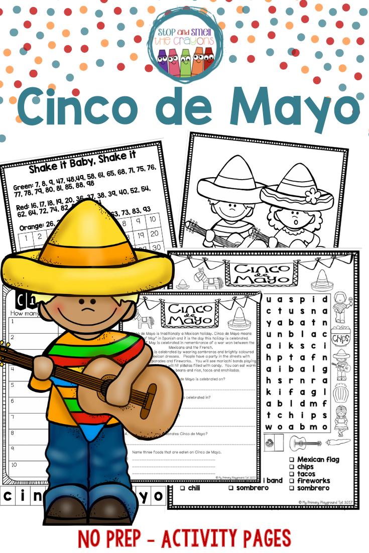 Cinco de Mayo Worksheets   Cinco de Mayo Activities   2nd grade activities [ 1102 x 735 Pixel ]