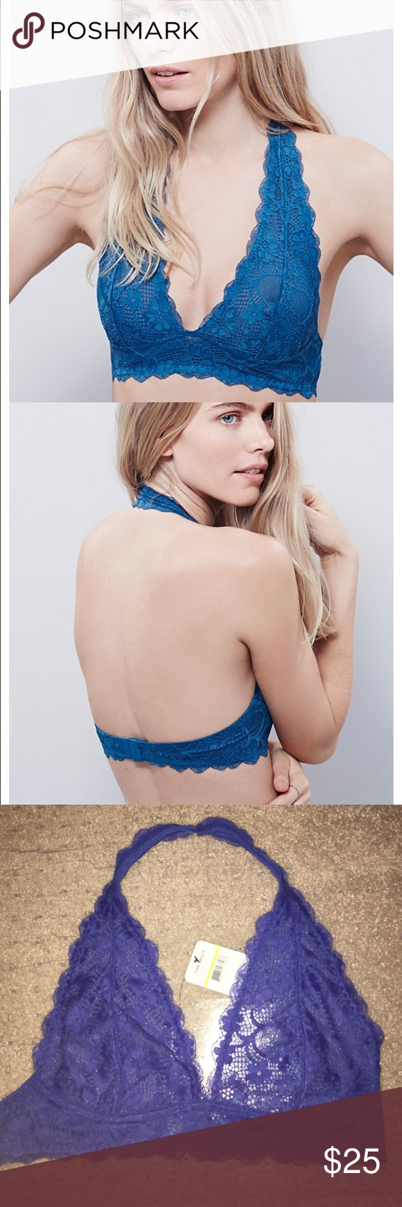 NWT Free People Bralette NWT Free People halter Bralette . Color is more purple blue (as shown in last picture). FIRM PRICE. 5% off 2 or more items! Free People Intimates & Sleepwear Bras