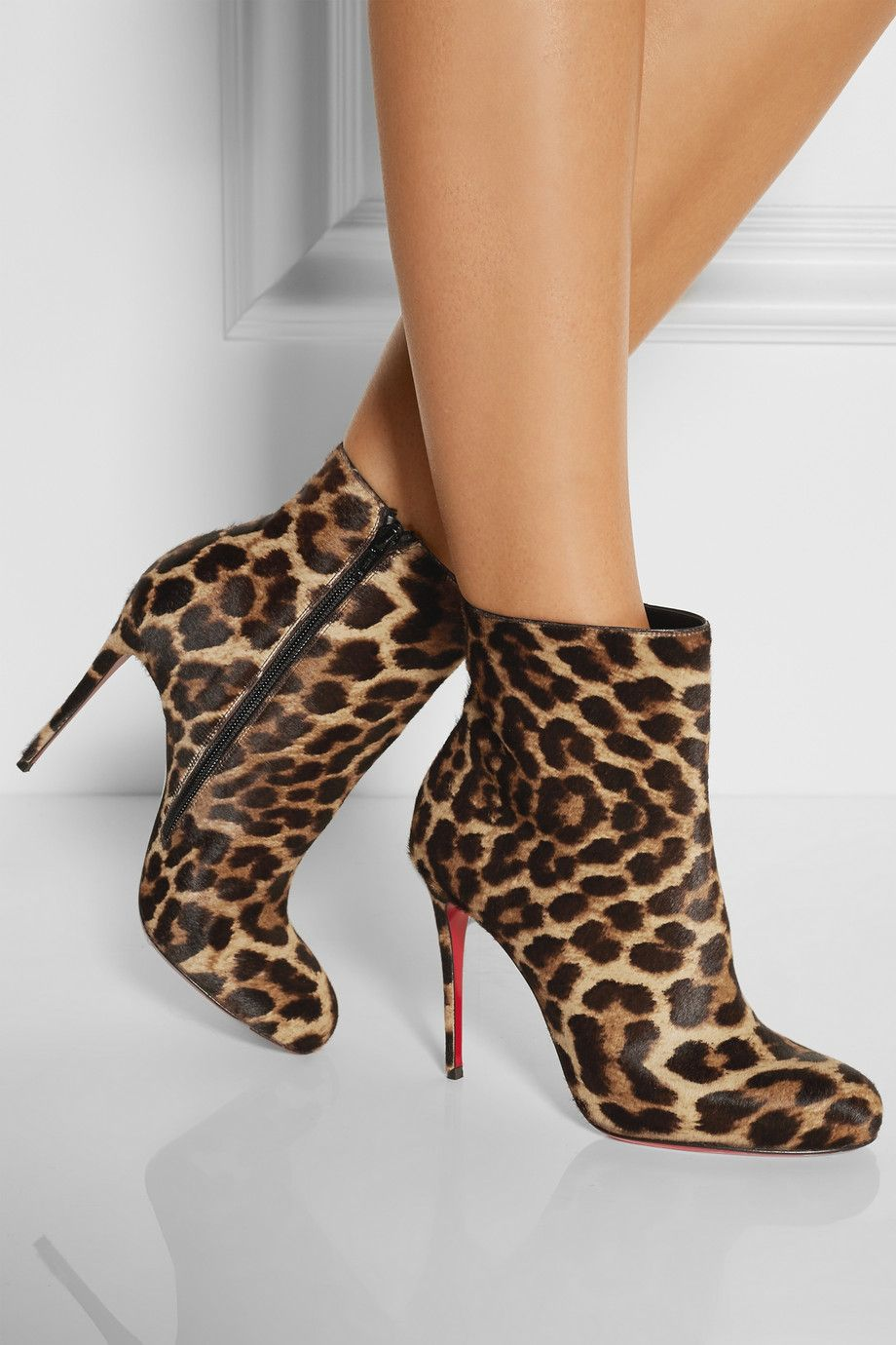 Women's Leopard Print Pony Hair Buckle Leather High Heel Dress Boots