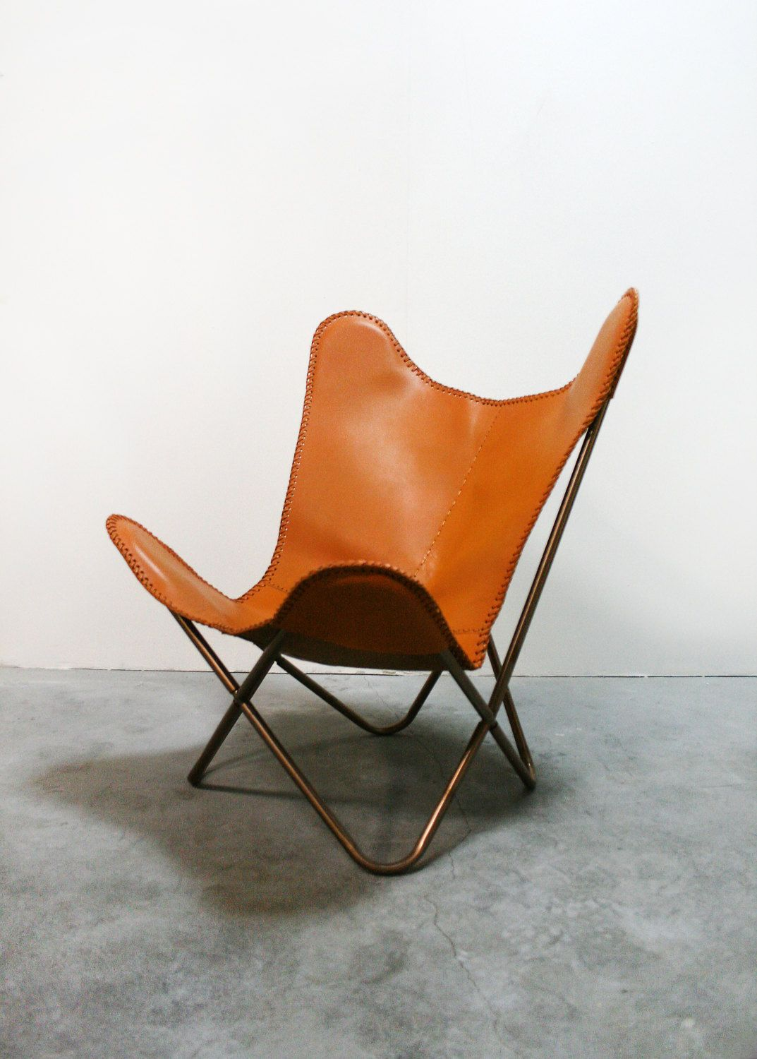 Butterfly Chair Knoll Vintage Handmade Orange Tan Leather Butterfly Chair Knoll Hardoy