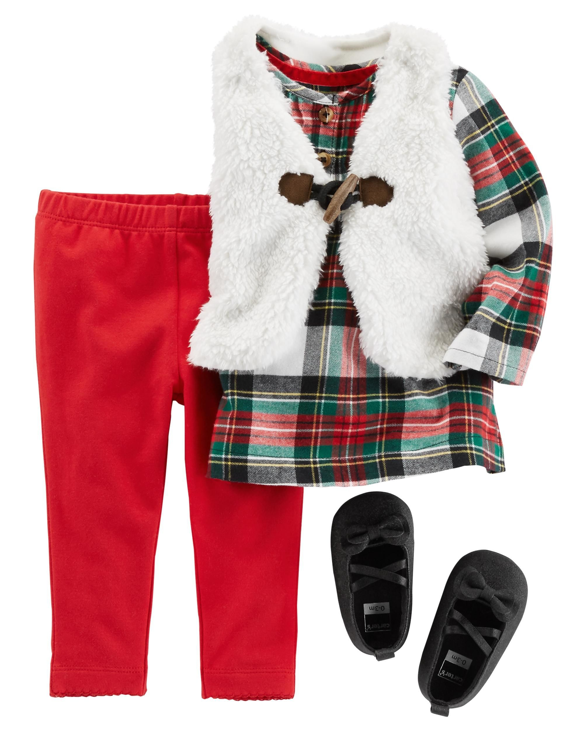 Flannel outfits with leggings  This Piece Little Vest Set is a holiday season essential In a