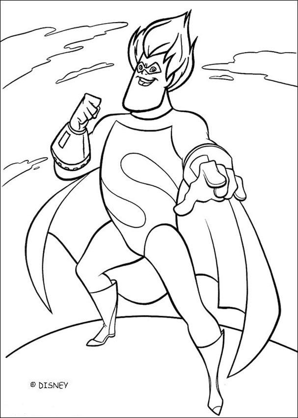 Coloring Page About The Famous Disney Movie The Incredibles Here A Drawing Of The Bad Guy Syndrome The Incredibles Coloring Pages Disney Coloring Pages