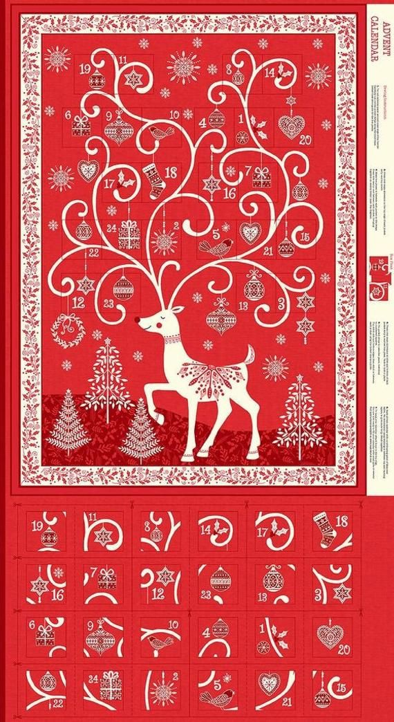 Makower Christmas 2019 Scandi Advent Calendar Fabric Panel