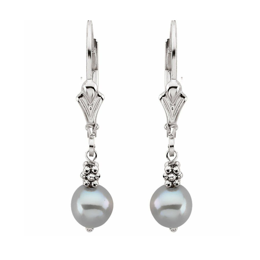 Grey Freshwater Cultured Pearl Hanging Earrings 14k White Gold