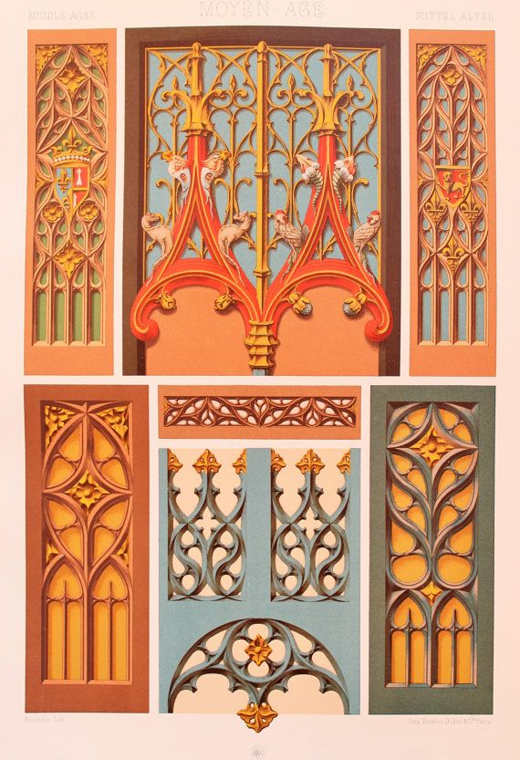 ed1f47c6f77 Middle Ages Decorative Ornament Painted   Gilded by PaperPopinjay