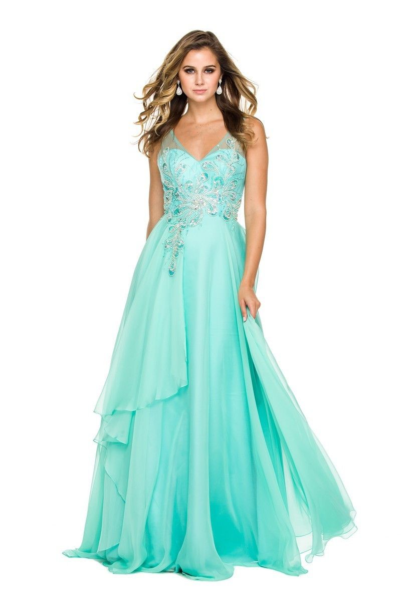 Sweetheart Illusion Bodice A-Line Chiffon Formal Gown