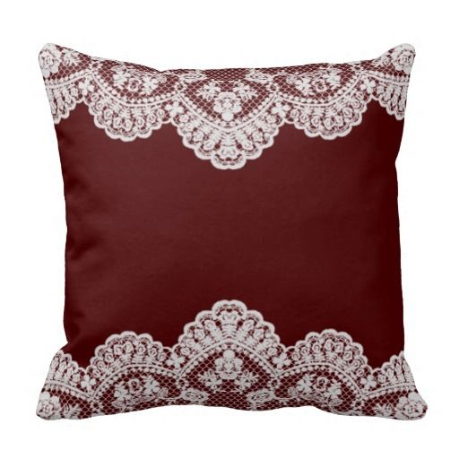 White Lace Maroon Throw Pillow White lace, Pillows and Dorm