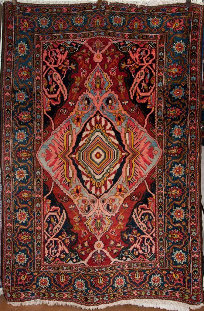 Antique Bakhtiari Persian Rug Size 6 7 X 4