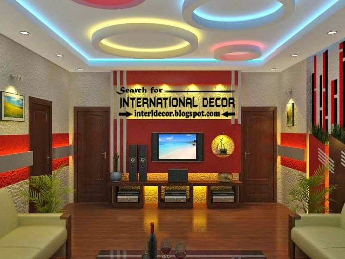 Modern suspended ceiling colorful lights for living room ceiling lighting ideas