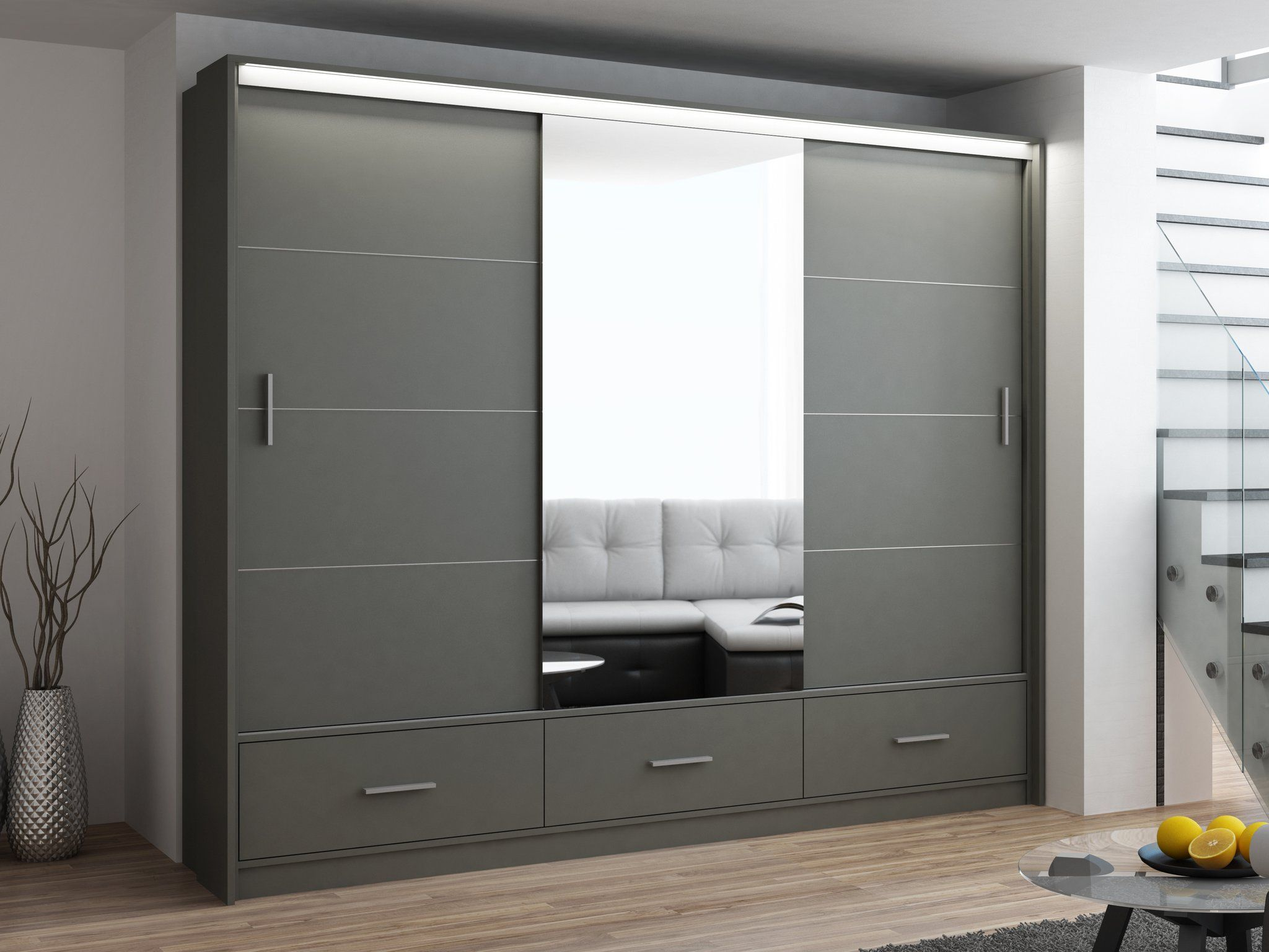 Instrument Lenox Mirror Wardrobe 255cm Graphite Grey Matt Sliding Door Wardrobe Designs Wardrobe Design Bedroom Wardrobe Door Designs