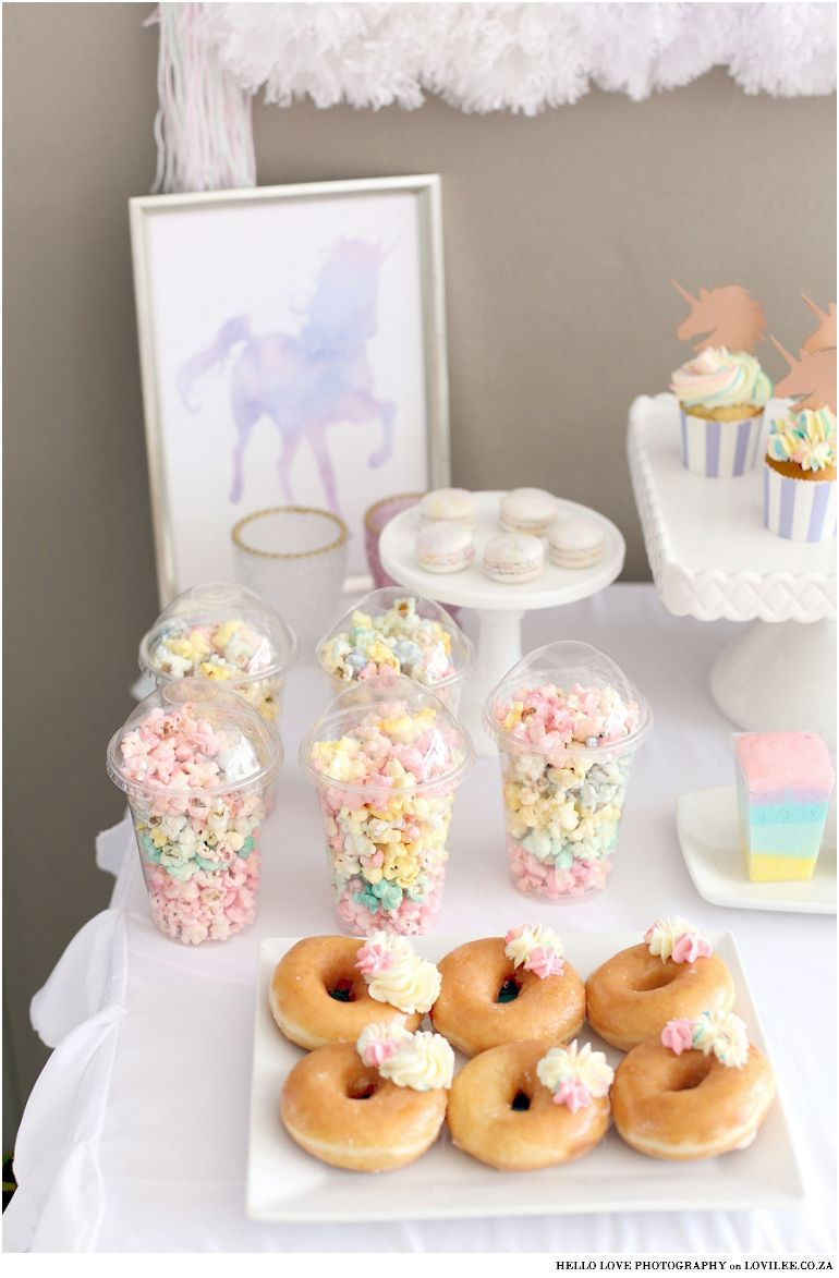 Magical Pastel And Rose Gold Unicorn Party Inspiration Lovilee Blog Online Decor Shop Donut Themed Birthday Party Birthday Candy Table Donut Birthday Parties