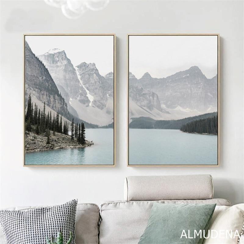 2020 的 Nordic Landscape Mountain Lake Canvas Paintings Home Decoration Living Room 主题
