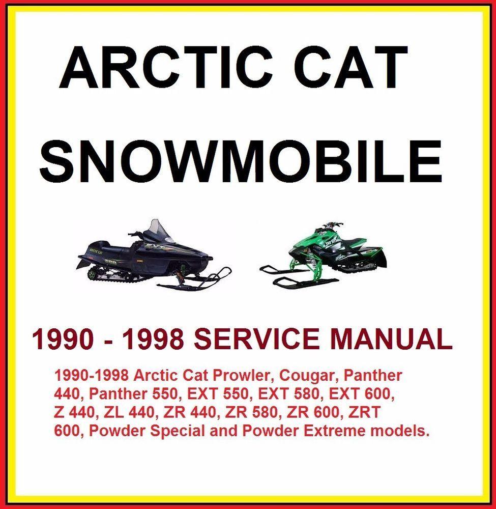 1990-1998 Arctic Cat ZRT EXT ZR Cougar Panther Snowmobile Service Repair  Manual