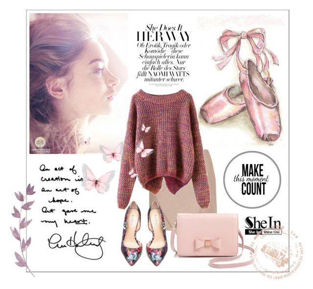 """""""SheIn Purple Knit Sweater"""" by jane-doglover ❤ liked on Polyvore featuring Carven, Ted Baker and Bebe"""