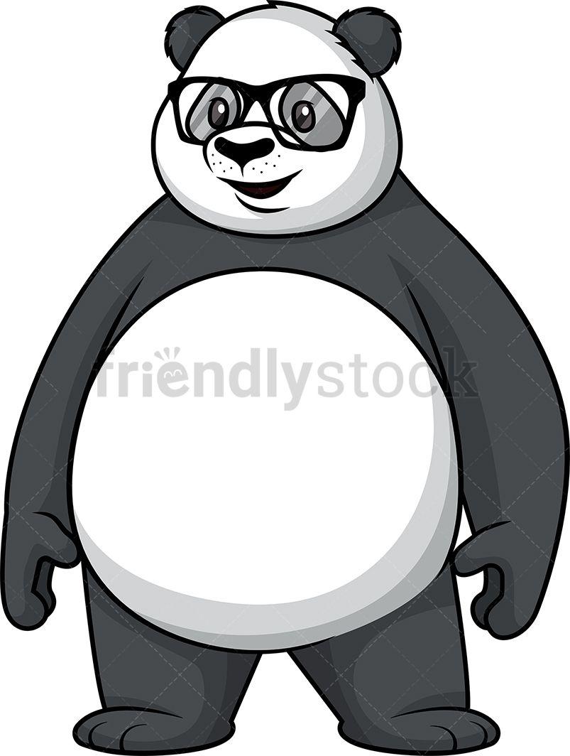 Panda With Glasses Cartoon Clipart Vector Friendlystock Panda Art Cartoon Clip Art Cute Easy Drawings
