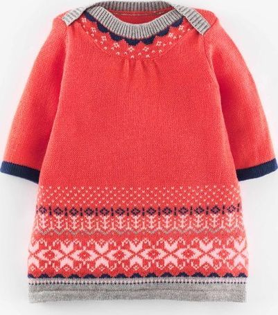 Mini Boden Fair Isle Knitted Dress Washed Red Mini Boden, In a ...