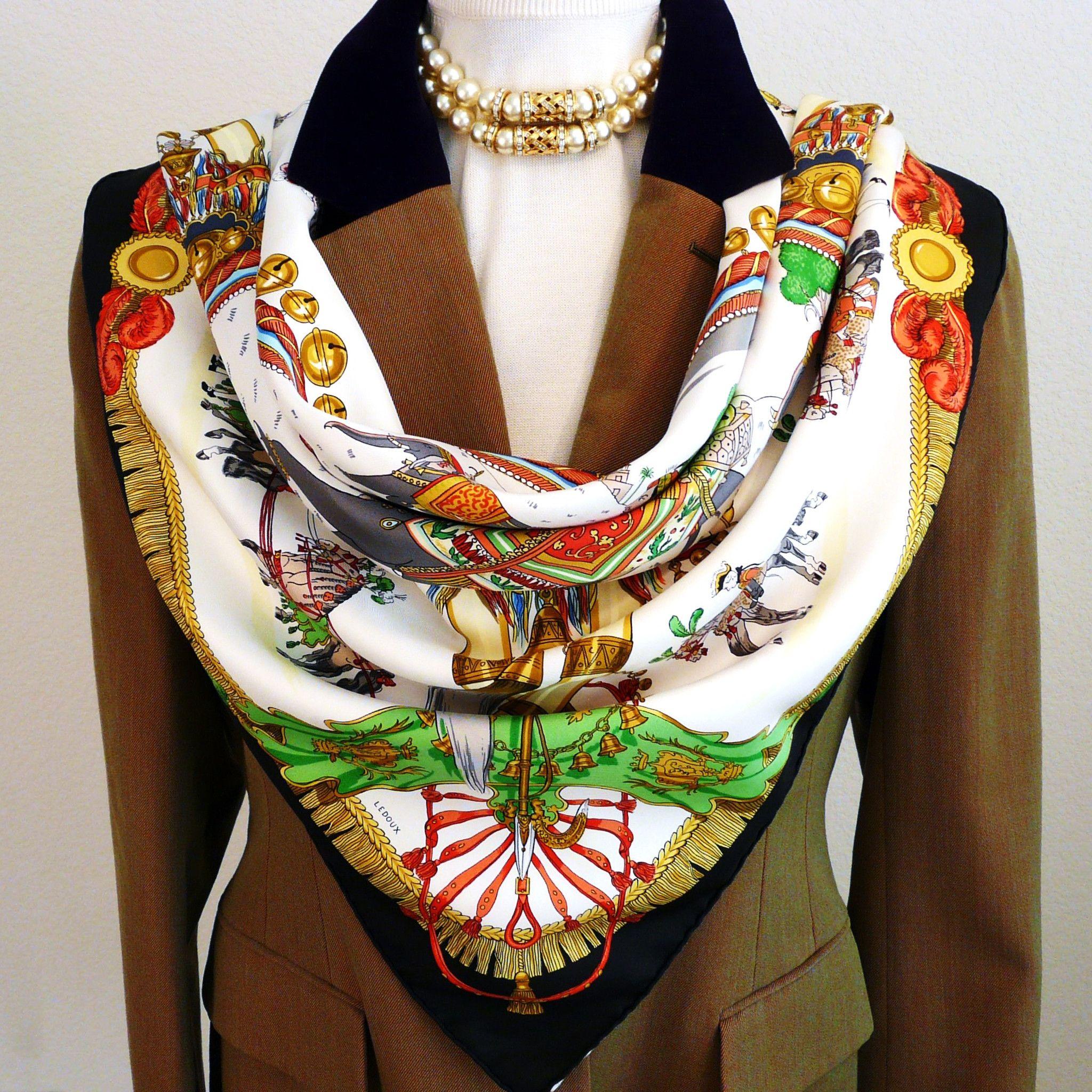 Authentic Vintage Hermes Silk Scarf Caparacons de la France et de L'Inde Rare