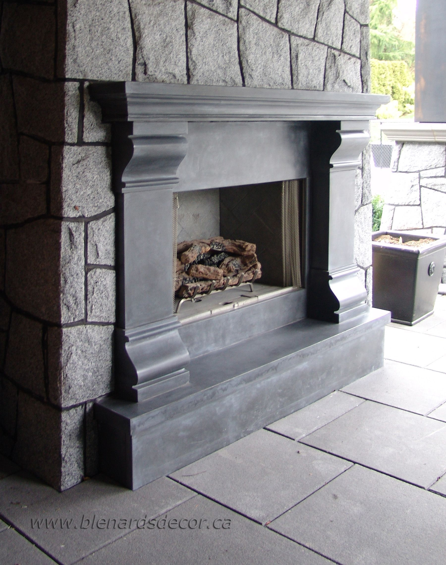 Cast concrete fireplace mantel fireplacesurround fireplace