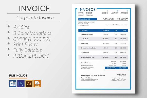 Invoice @creativework247 Stationery Design - Stationery Templates