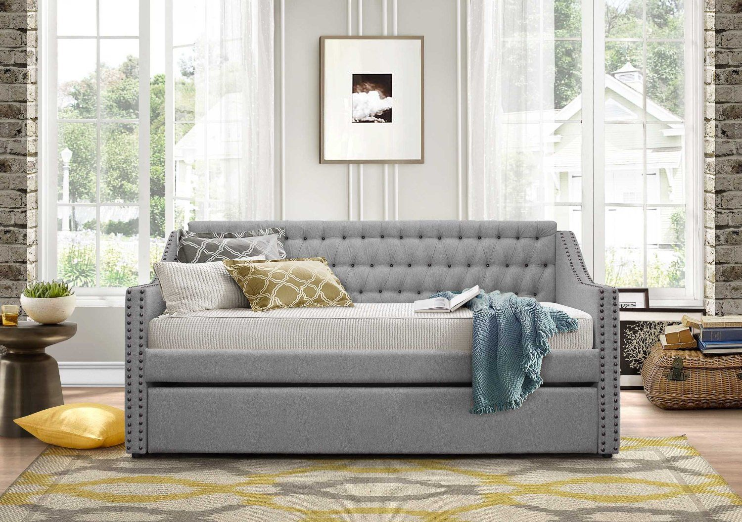 Amazon Com Homelegance Sleigh Daybed With Tufted Back Rest And
