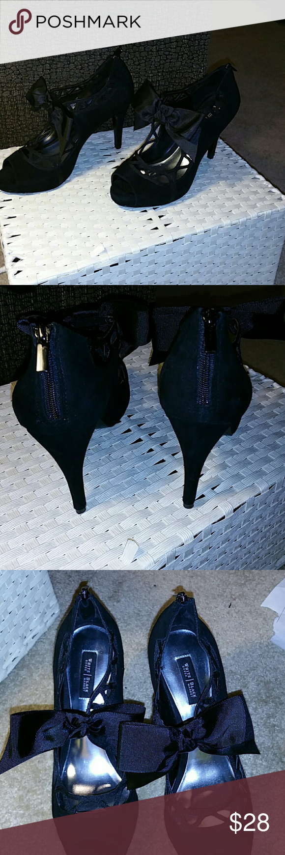 """WHBM black suede heels with black ribbon  bow WHBM black suede heels with black ribbon boe. Size 8. Maybe wore once. The heel is approximately 4"""" with approximately 1 / 2"""" toe. White House Black Market Shoes Heels"""