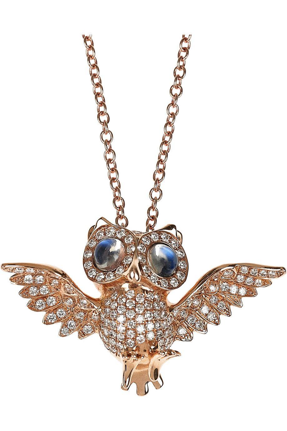 ANITA KO   Owl 18-karat Rose Gold Diamond Necklace 0.6-carat Blue Moonstones and 0.8-carat Diamond embellishment add an eye-catching finish to Anita Ko's 18-karat Rose Gold Owl Pendant Necklace. Wear it to stamp everyday looks with an irreverent touch. 5,615.00 USD