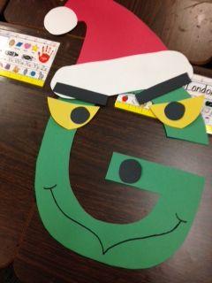Grinch Letter G Craft | KindergartenKlub.| Alphabet letter
