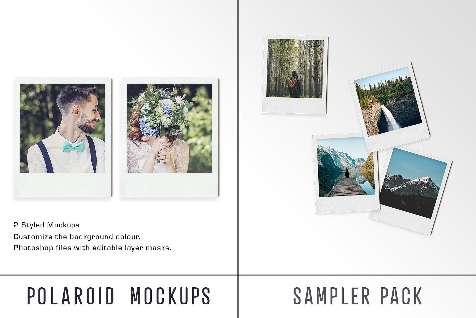 Polaroid Mockup Sampler Pack Ups Mock Polaroid True Mockup Free Psd Mockup Mockup Psd