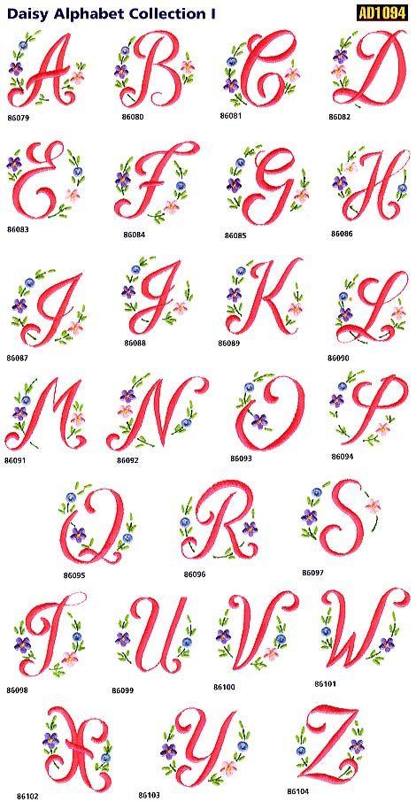 Daisy Alphabet Free Embroidery 刺繍 図案 刺繍 図案 アルファベット モノグラムの文字