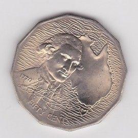 1970 UNC 50c CAPTAIN JAMES COOK COIN