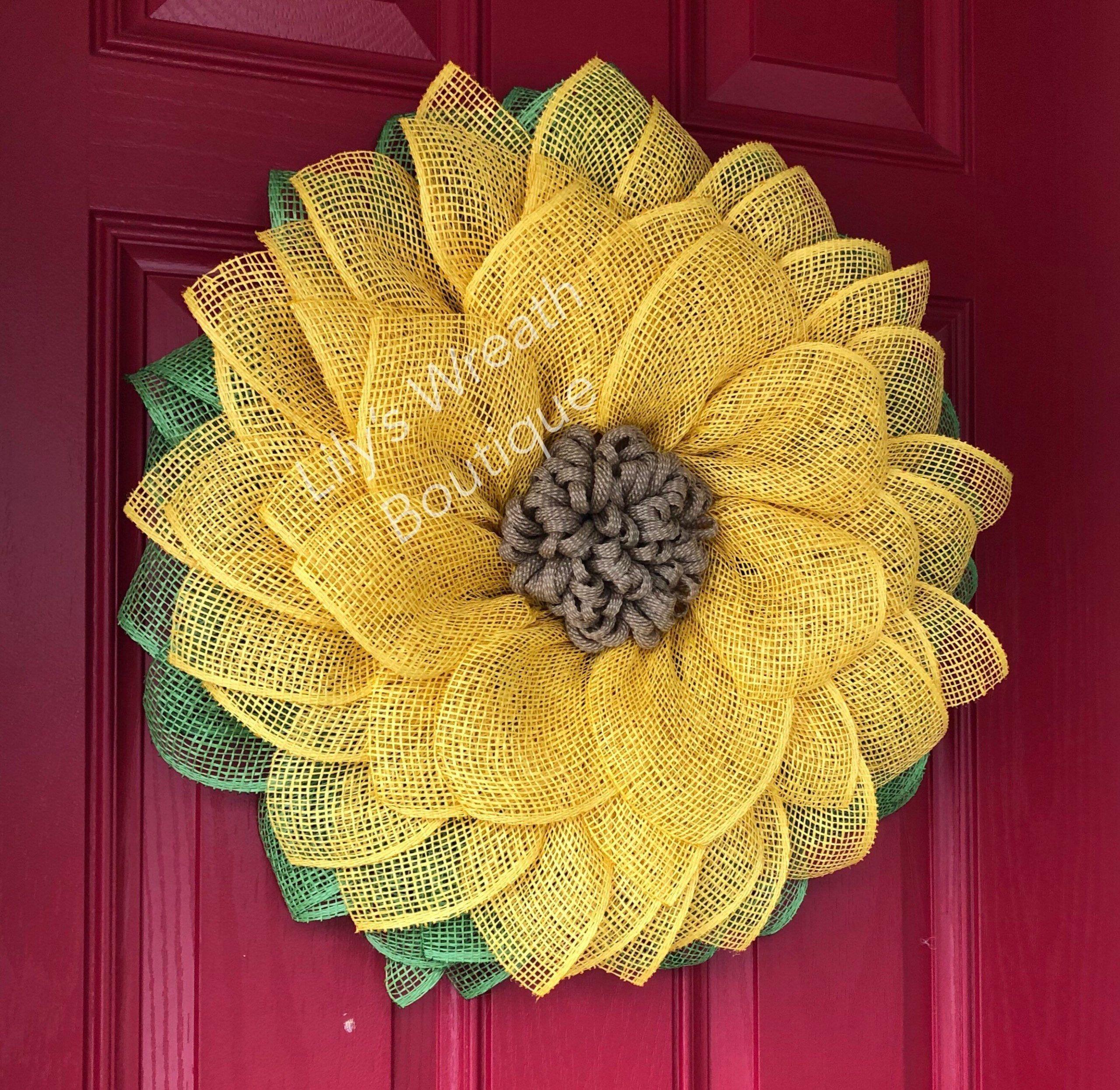 Photo of Best Seller! Sunflower Wreath, Yellow Sunflower, Burlap Wreath, Burlap Sunflower…
