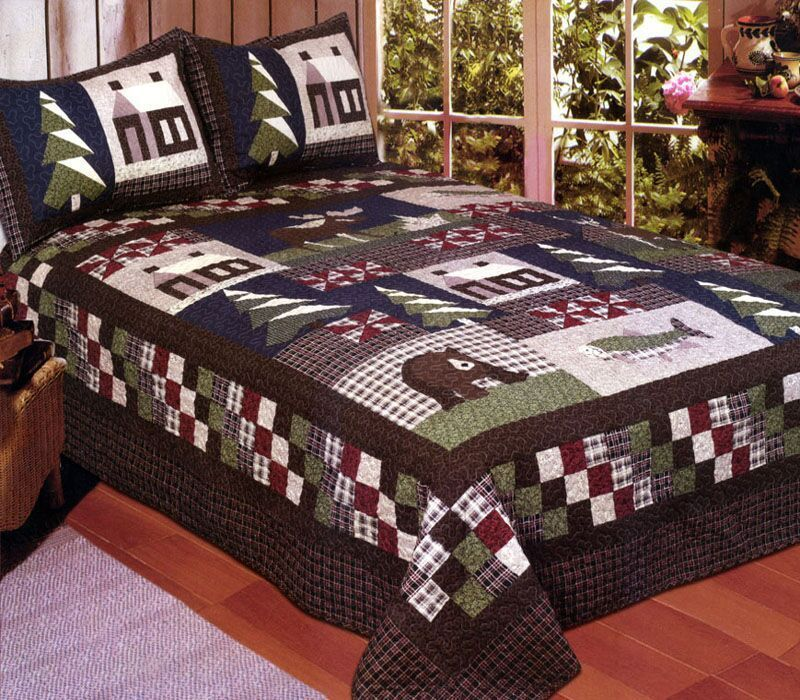 Mountain Trip 4 Pc Full Queen Quilt Bedding Set Bear Pine