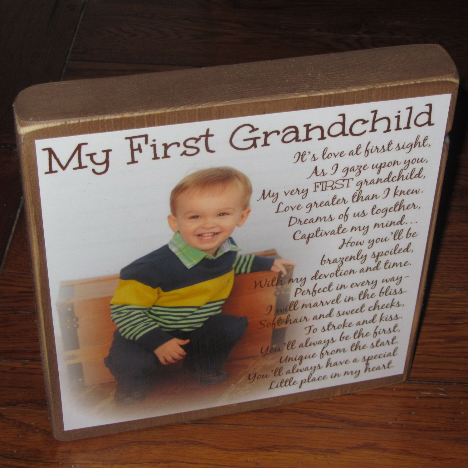 First Grandchild Poem Block XL Personalized Blocks Custom