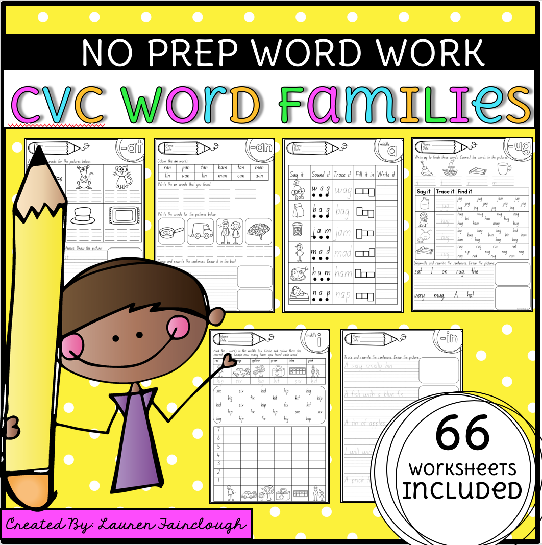 Word Family No Prep Worksheets