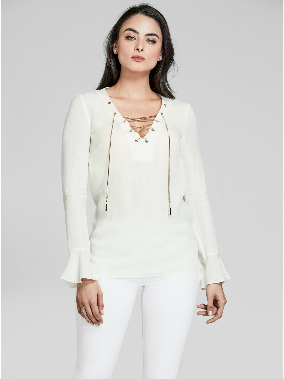 a34a31ab95a95 Guess by Marciano Women s Lace-Up Long-Sleeve Blouse