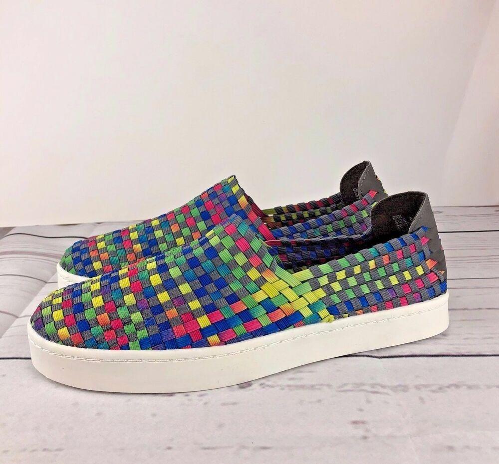 0f4f79d4109 Steve Madden Sz 8 Women Woven Elastic Sneaker Shoes Flats Slip-on Rainbow  New  SteveMadden  SlipOn