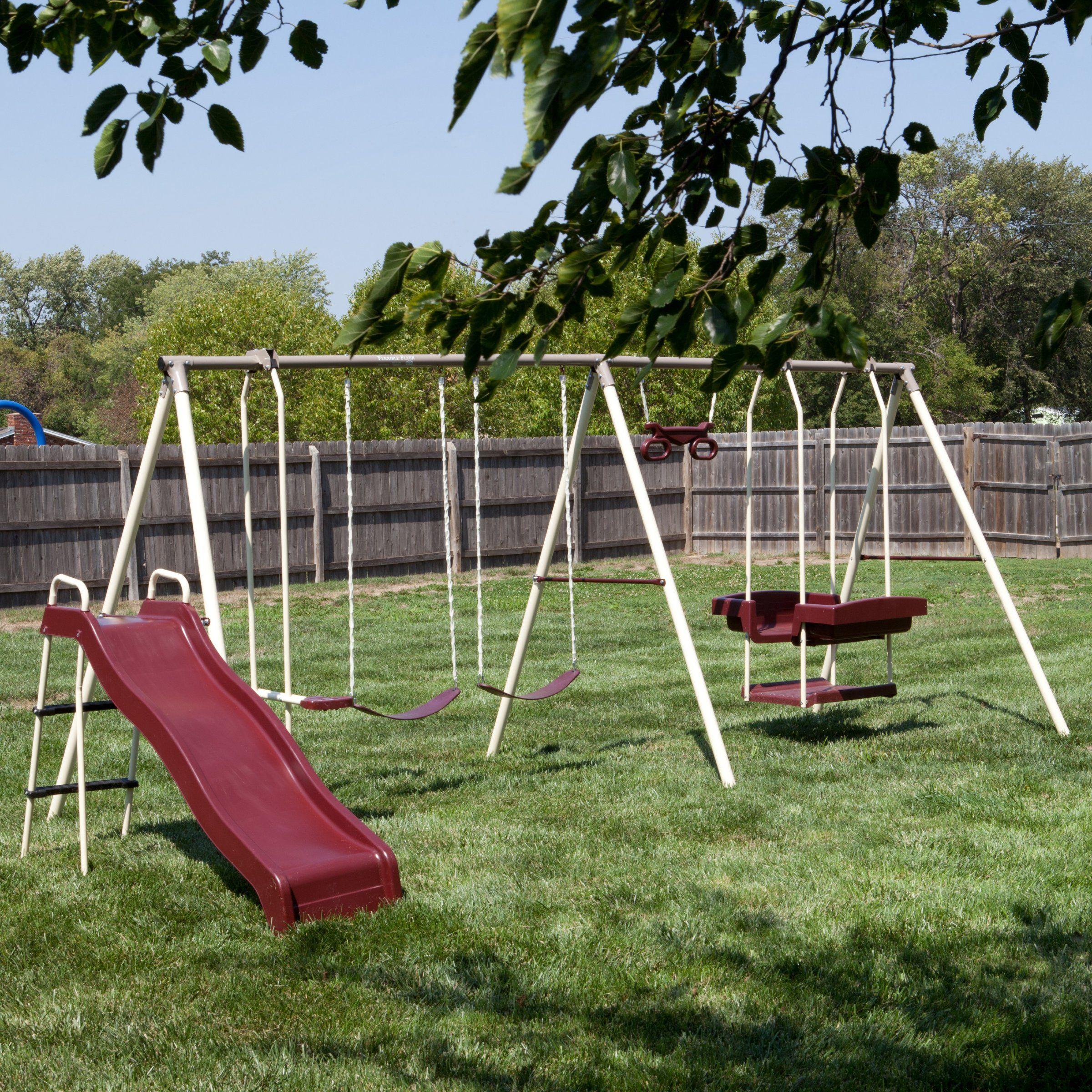 Flexible Flyer Play Park Swing Set Www Hayneedle Com Metal Swing Sets Park Swings Swing Set